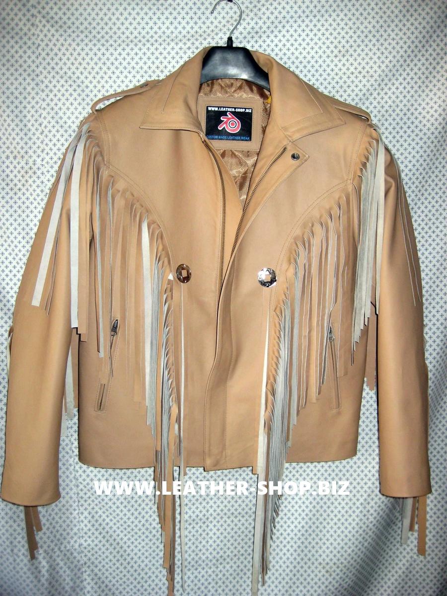 -Style-mlfj203 frange in pelle-giacca-custom-made-luce-marrone-www.leather-shop.biz-front-pic.jpg