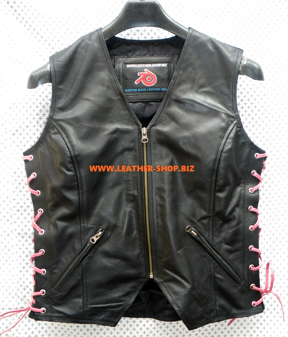 ladies-leather-vest-style-wlv1208-black-with-pink-side-lace-www.leathershopworldwide.com-front-pic.jpg