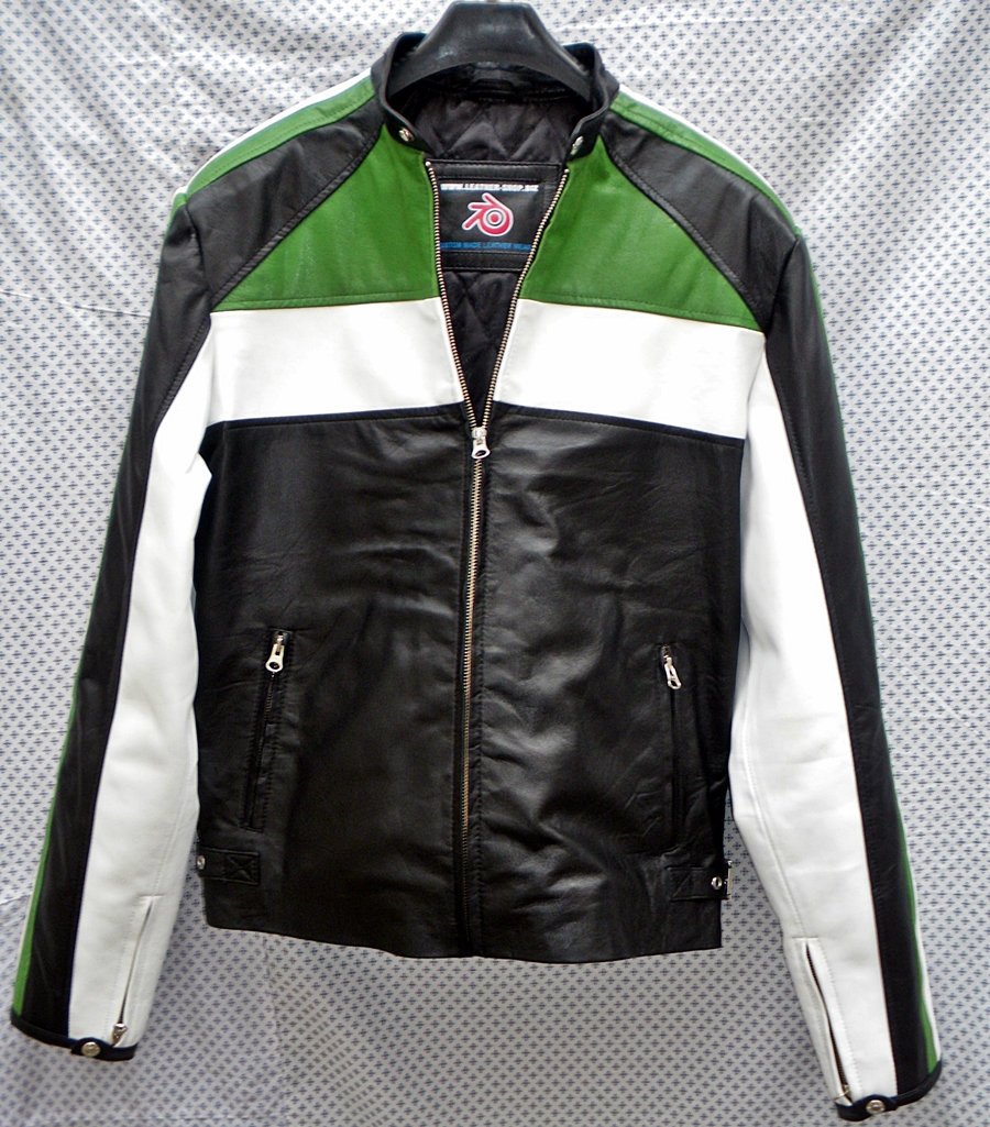mens-leather-jacket-racer-style-mlj222-kawasaki-green-trim-www.leather-shop.biz-front-open-collar-pic.jpg